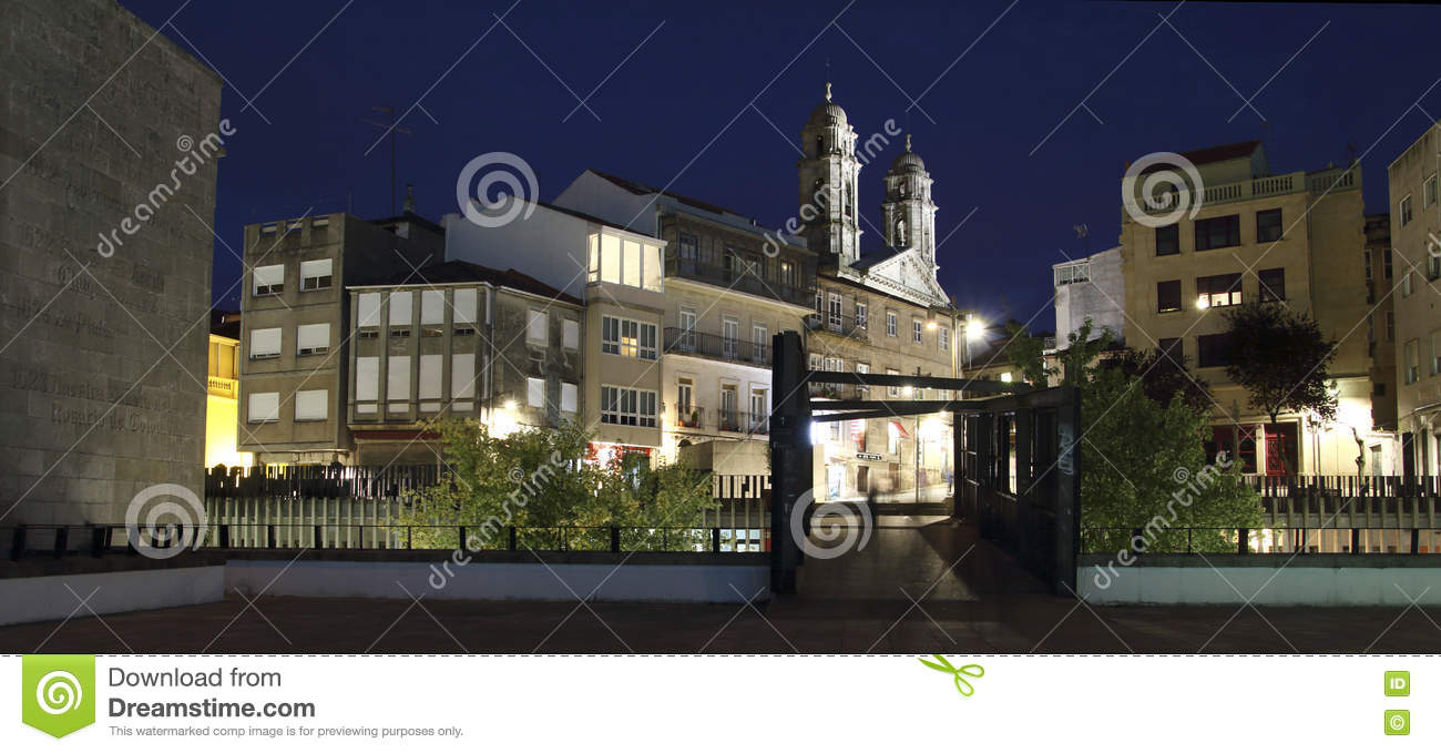 Illuminated Concathedral Of Vigo City At Night Editorial Stock.