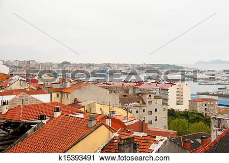 Stock Photography of Vigo, Galicia on rainy day k15393491.