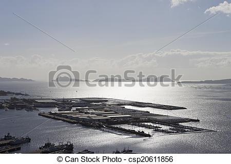 Stock Images of Vigo city trading port..