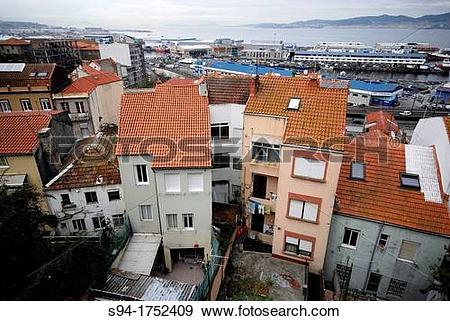 Stock Photograph of View of the city of Vigo, the Vigo ria and.