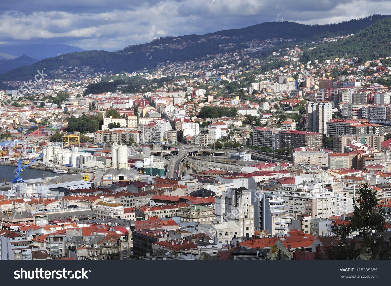 Overview Vigo Largest City Galicia Northwestern Stock Photo.