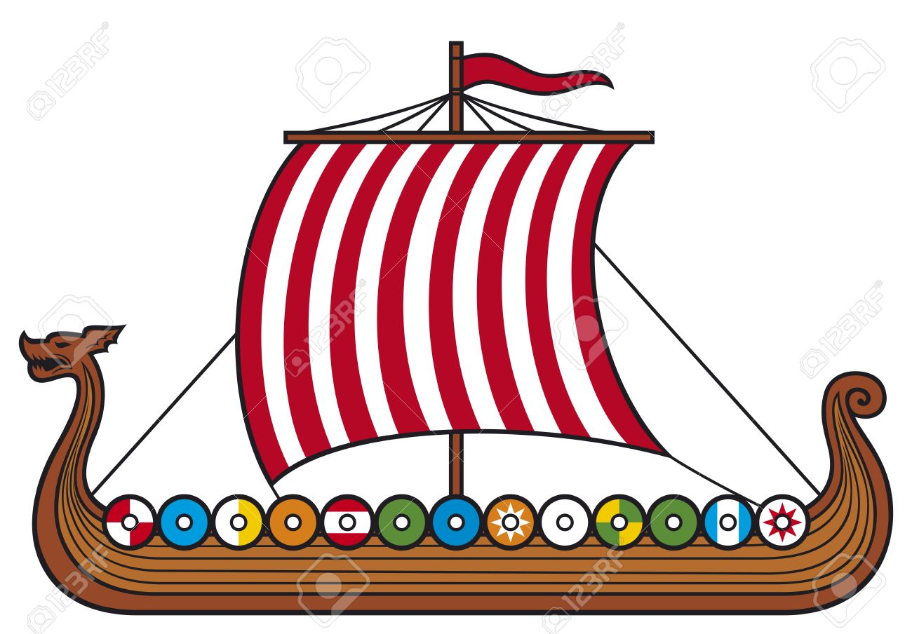 Viking Ship (viking Boat, Viking Long Ship) Royalty Free Cliparts.