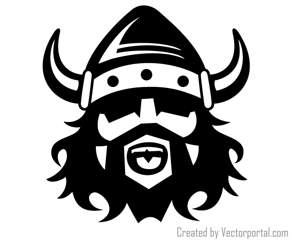 Viking clipart on black background.
