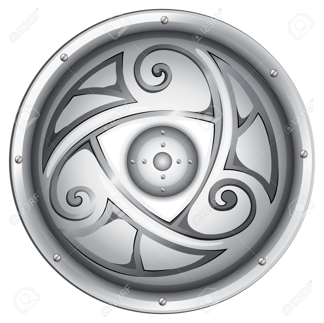 Illustration Of A Viking's Shield On A White Background Royalty.