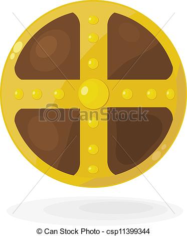 EPS Vector of Cartoon Viking shield. eps10 csp11399344.
