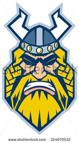 Vector Cartoon Clip Art Illustration Of A Viking Head In A Front.
