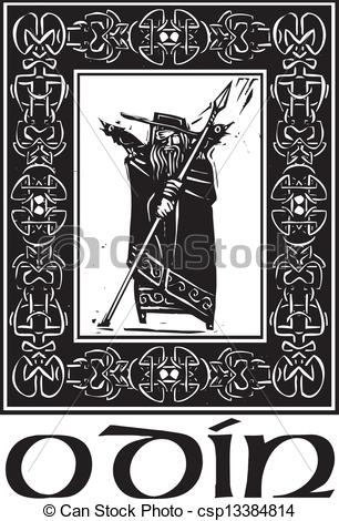 Vector Clip Art of Norse God Odin With Border.