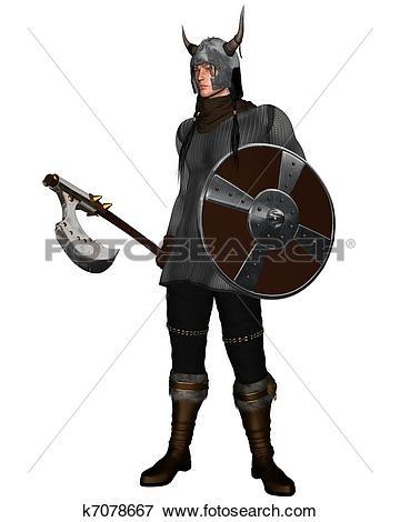Stock Illustration of Fantasy Style Viking Warrior k7078667.