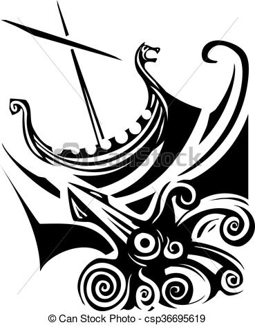 Vector Clip Art of Viking Longship Sailing.