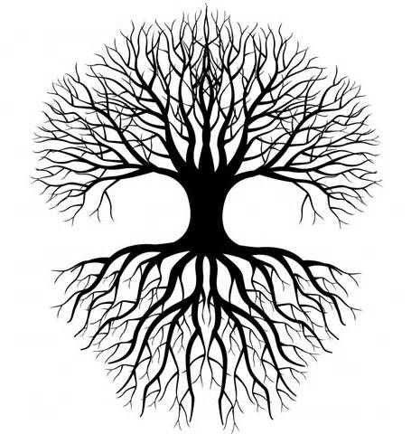Simple Tree Roots Coloring Coloring Pages.