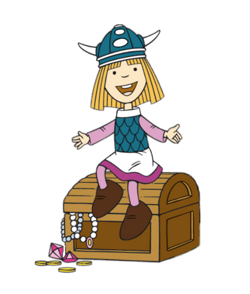 Vic the Viking Sitting on Treasure Chest transparent PNG.