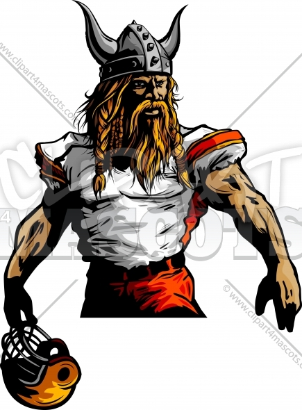 Vikings Football Mascot Graphic Vector Image.