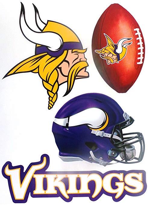 Amazon.com: Minnesota Vikings Team Set of 4 Vikings Logo.
