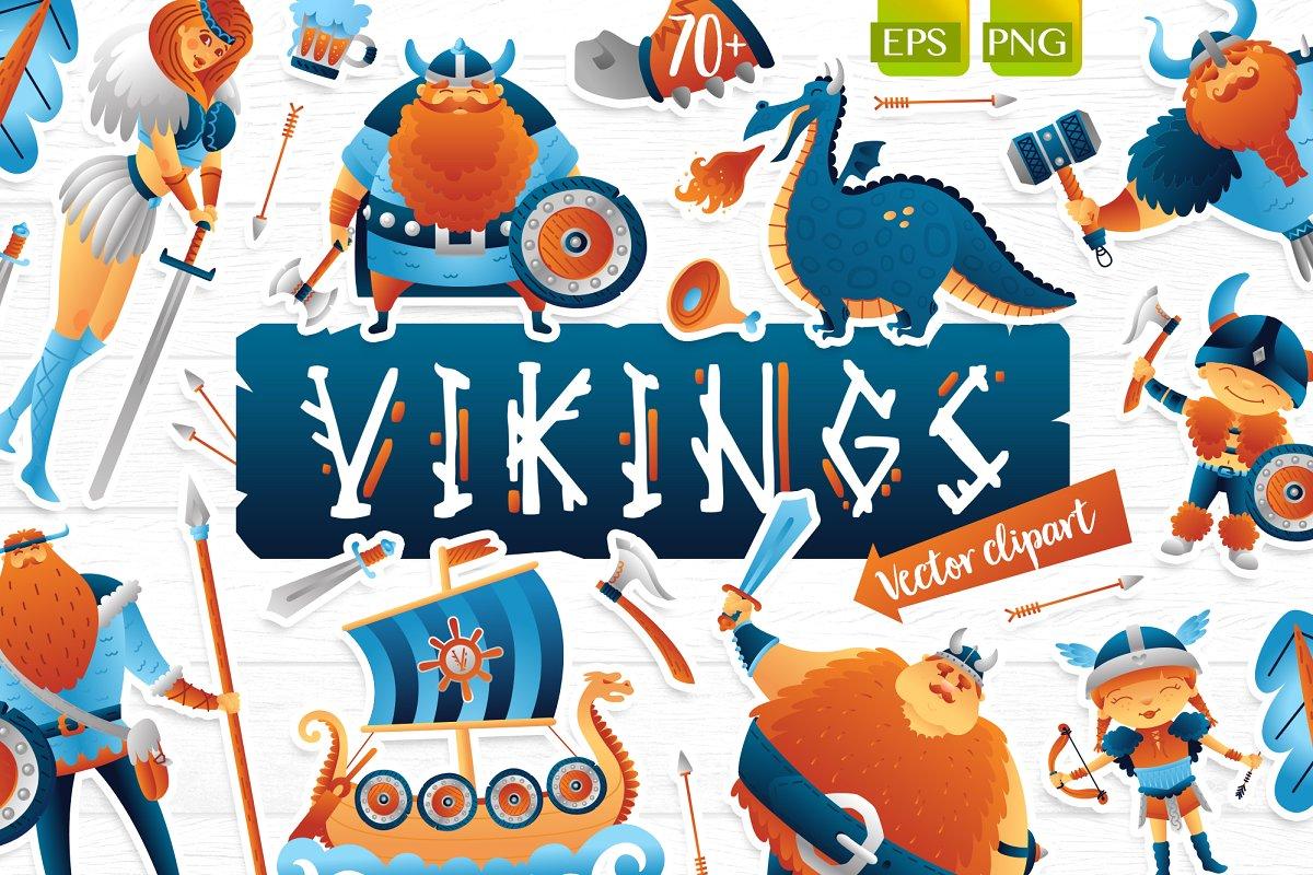 Vikings vector clip art illustration.