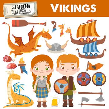 Viking clip art Vikings graphics Dragon clipart Ship clipart Warrior Celtic.