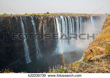 Stock Photograph of Wide view of Victoria Falls in Zambia.