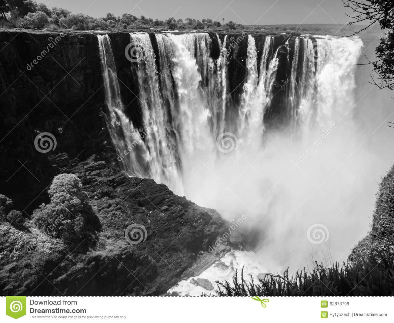 Majestic View Of Victoria Falls Stock Photo.