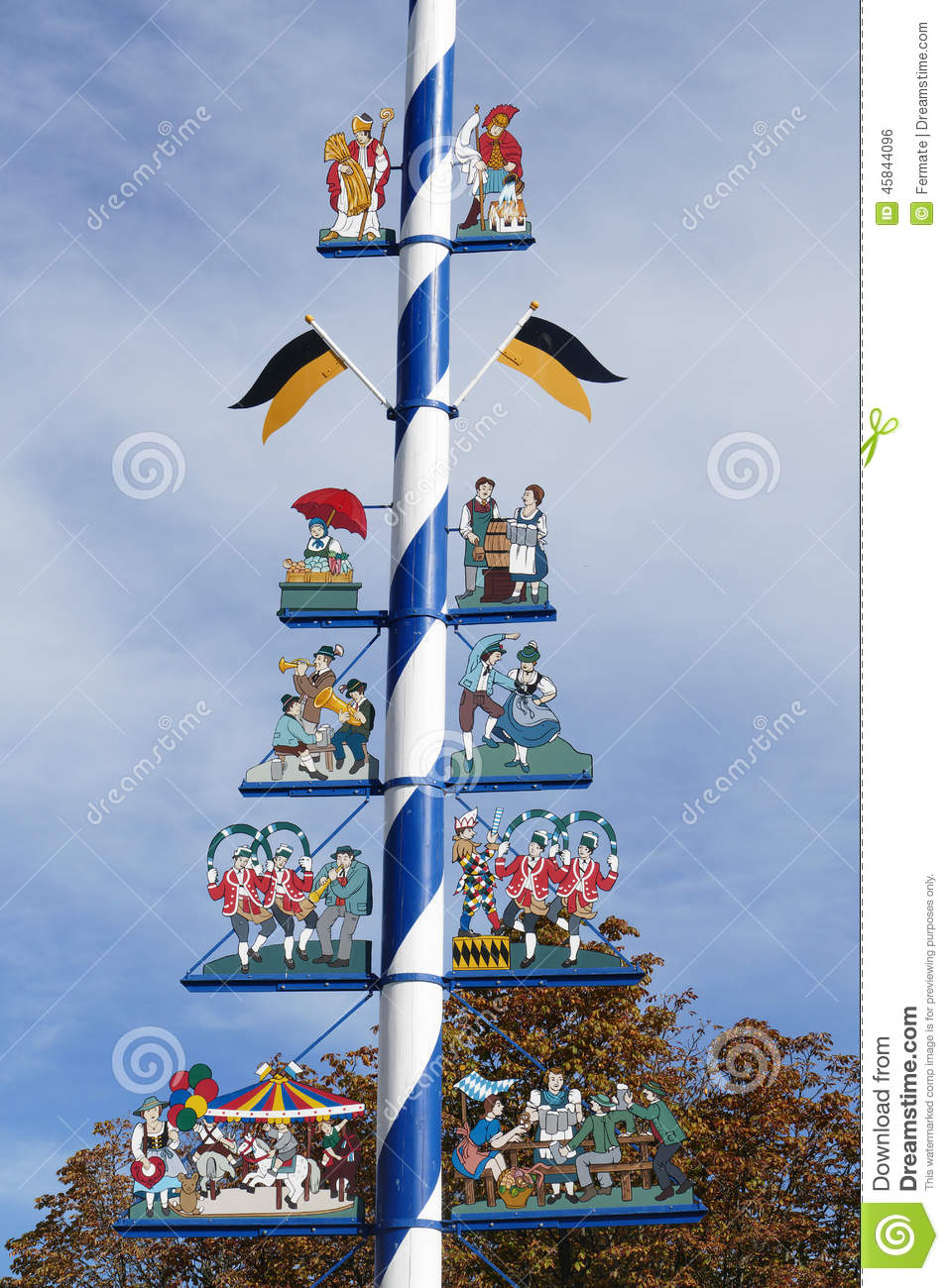 Details Of Traditional Bavarian Maypole, Munich, Germany Stock.