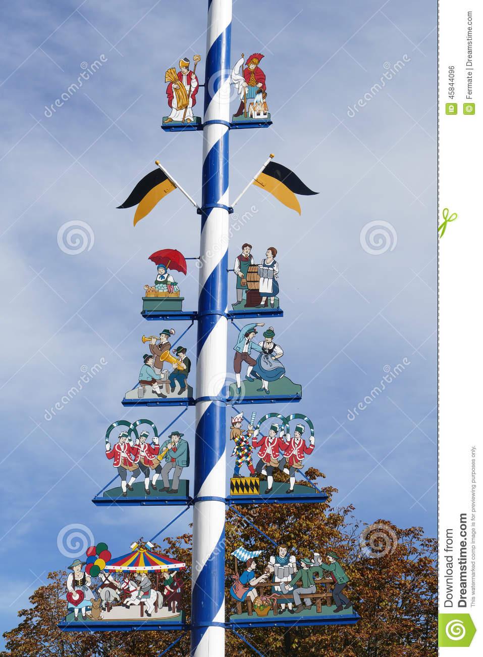 Details Of Traditional Bavarian Maypole, Munich, Germany Stock.