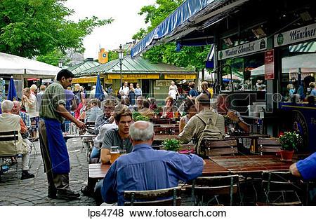 Pictures of STREET CAFE VIKTUALIENMARKT FOOD MARKET MUNICH BAVARIA.