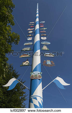 Picture of Germany, Bavaria, May pole in Berg town at Lake.