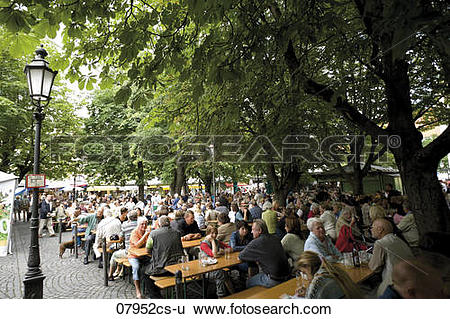 Stock Images of Germany, Bavaria, Munich, Beer garden.