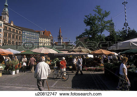 Picture of Munich, outdoor market, Germany, Bavaria, Europe.