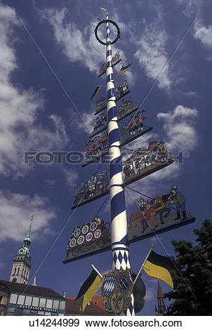 Stock Photograph of Munich, beer garden, Germany, Viktualienmarkt.