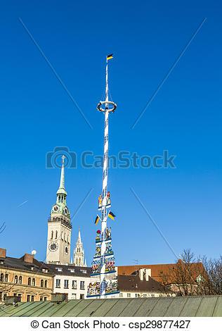 Stock Photo of Munich, Germany, Bavarian Maypole on.