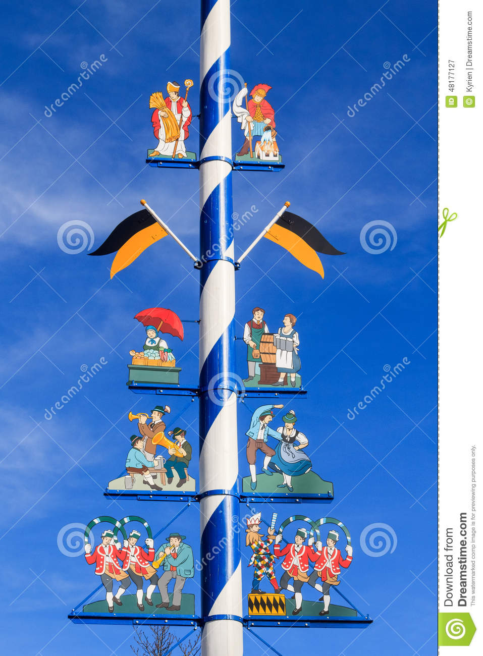 Detail Of A Maypole In Munich Stock Photo.