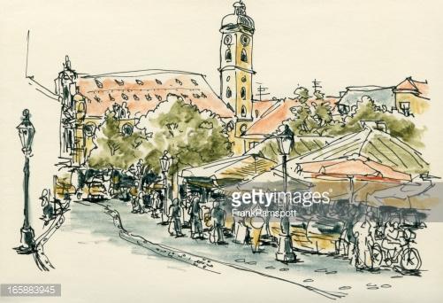 Viktualienmarkt Munich Watercolor Ink Sketch Stock Illustration.