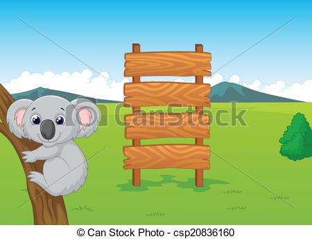 Clipart Vector af af træ, Koala, cartoon, Tegn.