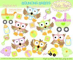 Color Owls Color Clip Art + Line Art Rainbow Colors Mixed Variety.
