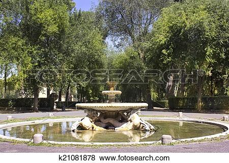 Pictures of fountain, Villa Borghese gardens, Rome k21081878.