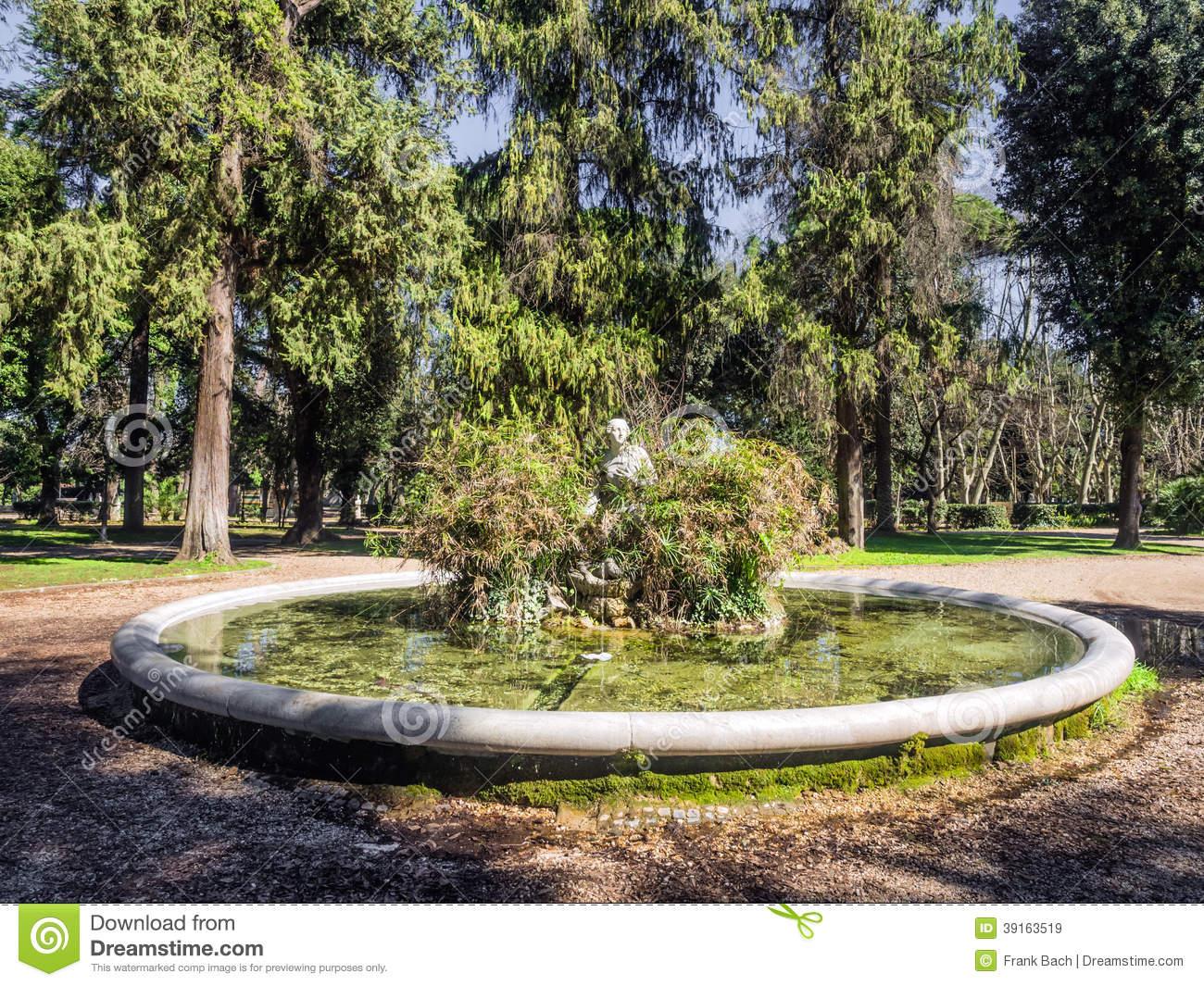 Fountain And Statue In Villa Borghese, Rome Stock Photo.