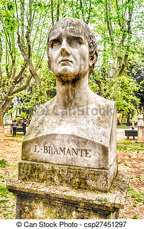 Stock Photographs of Bust statue of Bramante. Sculpture in Villa.