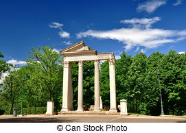 Picture of Nature and architecture in Villa Borghese city park.