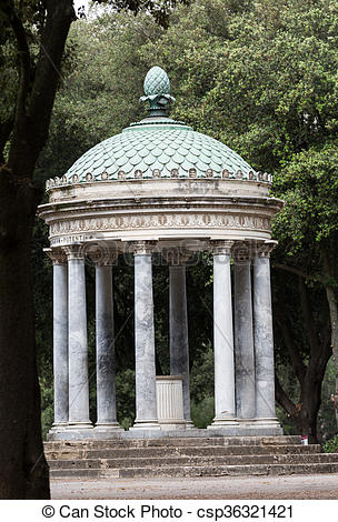 Stock Photo of Temple of Diana in garden of Villa Borghese. Rome.