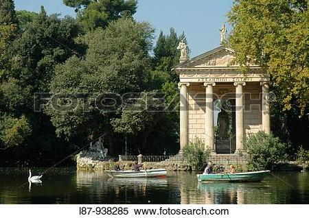 Stock Image of Villa Borghese gardens: 19th century Greek little.