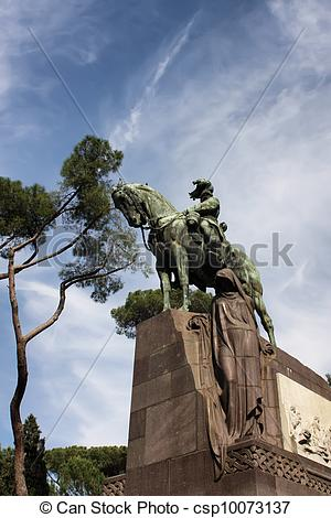 Stock Photos of Statue of Umberto II in Villa Borghese, Rome.