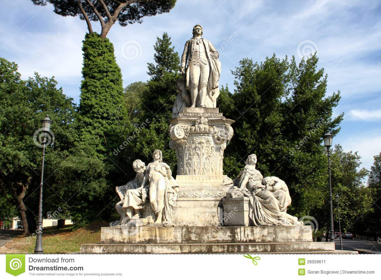 Goethe Statue At Villa Borghese In Rome Stock Photo.