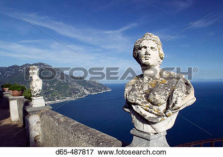Picture of Villa Cimbrone. Roman Busts on Belvedere Terrace.