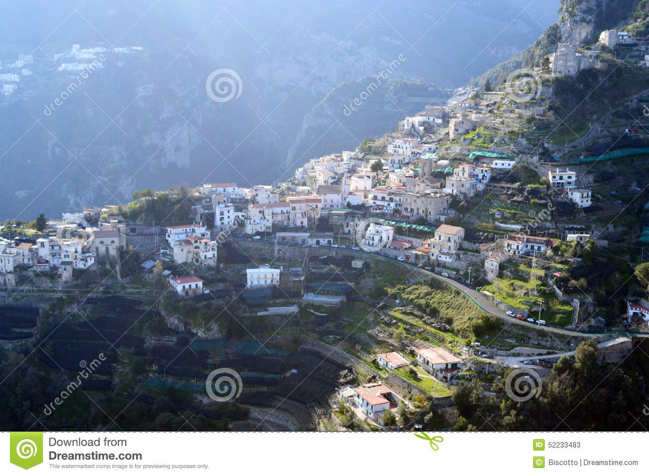 City On A Hill, View From Villa Cimbrone, Southern Italy Stock.