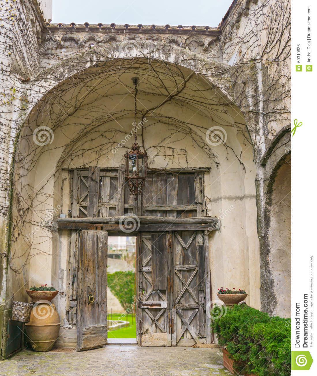 Old Gate Entrance Villa Cimbrone Ravello Amalfi Coast Italy Stock.