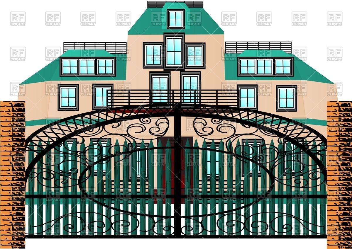 Luxurious mansion behind forging gate.