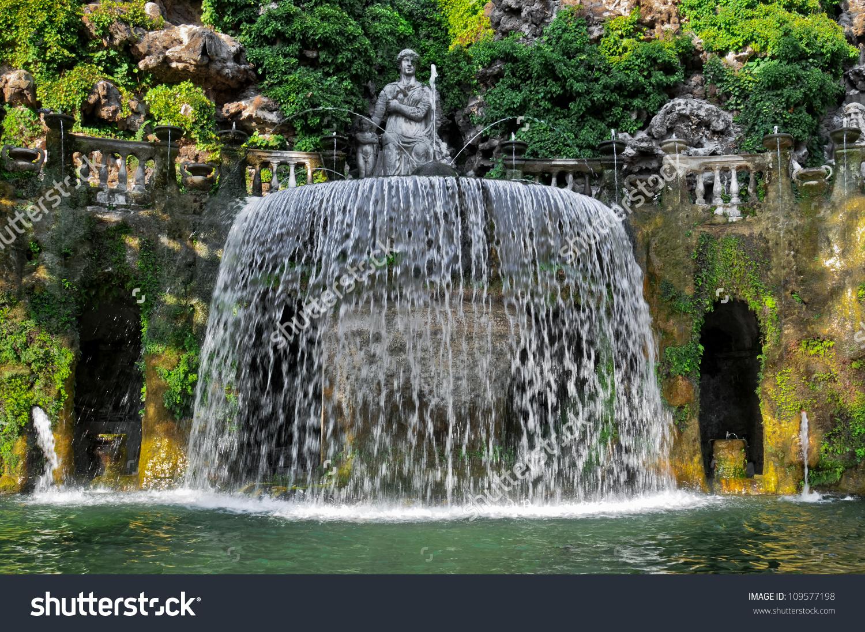 Close Up Of The Ovato Fountain Of The Villa D'Este, Tivoli Village.