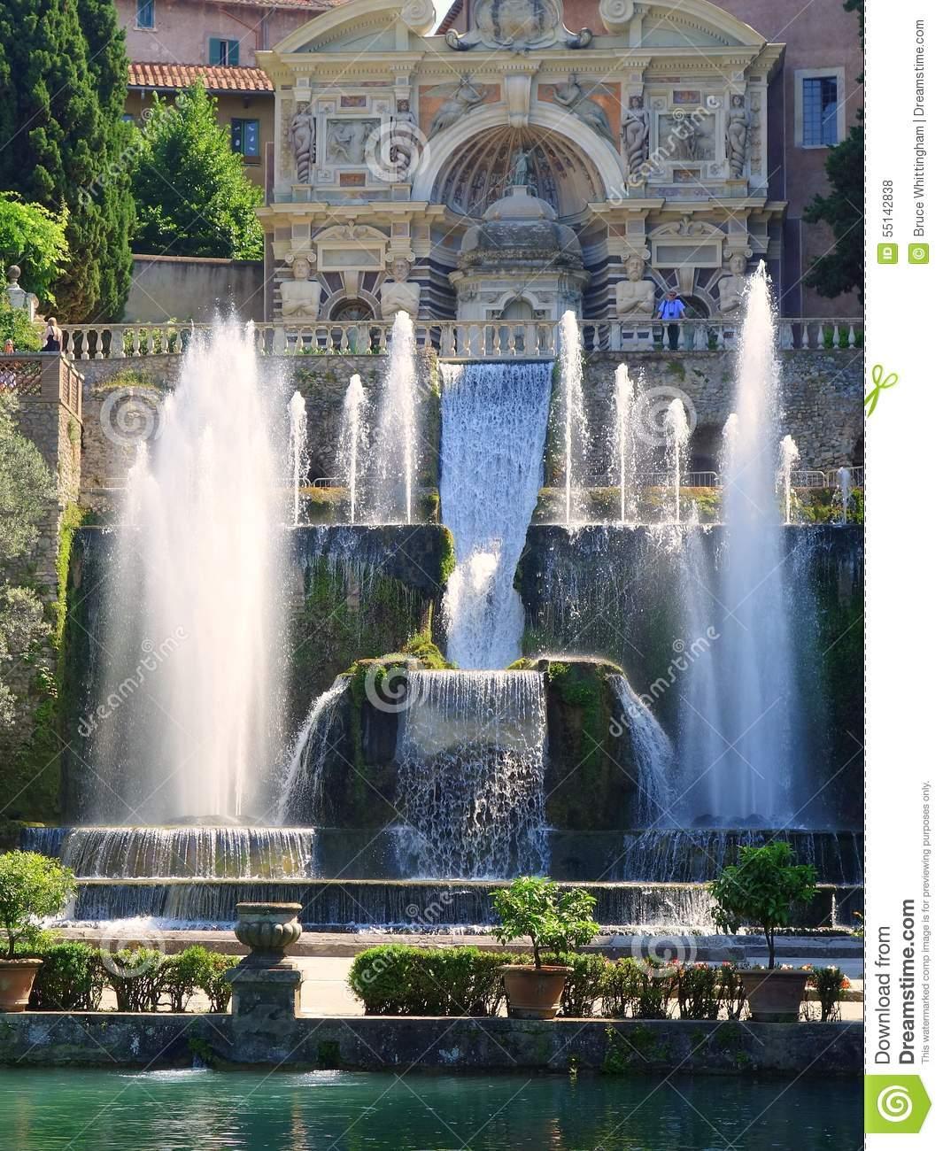 Fountains, Villa D'Este, Tivoli, Italy Stock Photo.