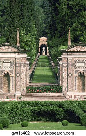 Stock Photography of Path in a garden, Villa d Este, Lake Como.