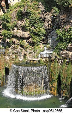Stock Images of Oval Fountain in Villa d'Este. Tivoli, Italy.