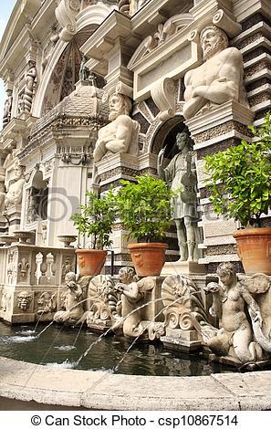 Stock Photography of Fountain dell'organo in Gardens of Villa d.